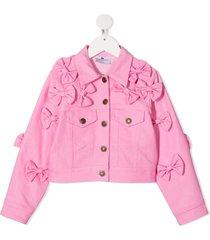 raspberry plum teen bow-embellished denim jacket - pink