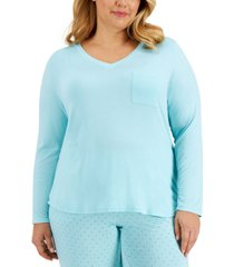 alfani plus size pocketed pajama top, created for macy's