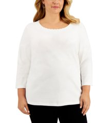 karen scott plus size studded scallop-trim top, created for macy's