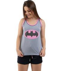 baby doll 4 estações pijama curto verão regata batgirl feminino cinza com rosa - kanui