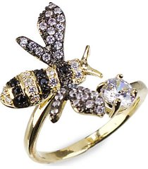 18k goldplated & rhodium-plated crystal bee ring
