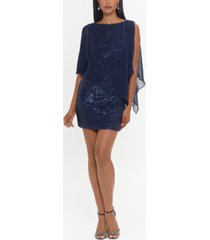 xscape sheer-overlay sequinned sheath dress