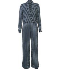 macacão mob pantalona listrado azul/preto - kanui