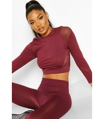 fit laser cut seam free long sleeve crop top, wine