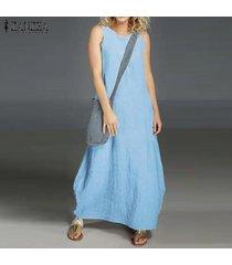 zanzea vestido sin mangas de verano sin mangas para mujer vestido largo con hombros descubiertos camisa de vestir larga plus -azul claro