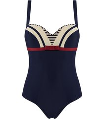 starboard plunge balcony bathing suit | wired padded blue ivory red - 38c