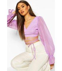 organza balloon sleeve tie up waist top, lilac