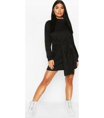 petite sweatshirt jurk met strik, black