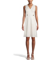 anne klein jacquard fit & flare dress