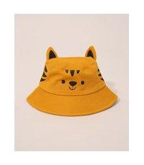 chapéu bucket hat infantil tigre com orelhas amarelo