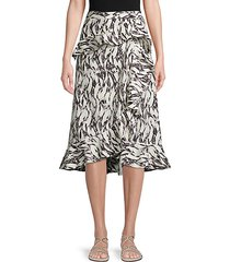 abstract-print cotton wrap skirt
