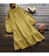 zanzea vestido camisero de manga larga para mujer vestido midi con dobladillo suelto y plisado vintage de gran tamaño -amarillo