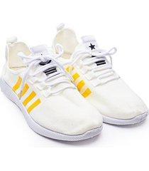 tenis hombre franjas amarillas color blanco, talla 40