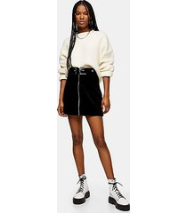 tall corduroy buckle denim skirt - black