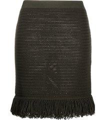 bottega veneta knitted fringe-trim skirt - green