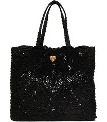 dolce & gabbana large beatrice lace tote - black