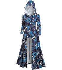 bat dinosaur skeleton asymmetric halloween hooded dress