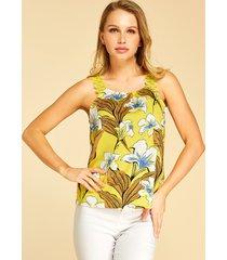 yoins inserto de encaje amarillo estampado floral aleatorio redondo cuello top