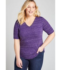 lane bryant women's perfect sleeve v-neck with foil tee 22/24 violet indigo
