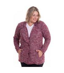 casaqueto feminino em malha tricot brush