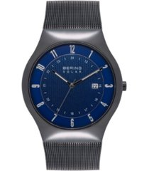 bering men's solar powered black stainless steel mesh bracelet watch 40mm
