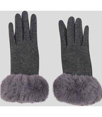guantes touch gamuza con piel gris baziani