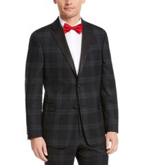 tommy hilfiger men's modern-fit thflex stretch green/navy blue plaid suit jacket