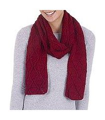 100% alpaca scarf, 'ruby diamonds' (peru)