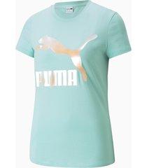 classics t-shirt met logo dames, blauw/wit, maat xs   puma