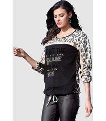 sweatshirt amy vermont zwart::beige::goudkleur