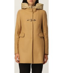 fay coat double front fay coat in cream and nylon