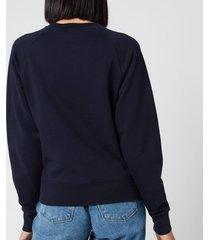 maison kitsuné women's sweatshirt tricolor fox patch - navy - l