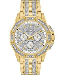 bulova men's crystal accented gold-tone stainless steel bracelet watch 43mm