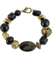 2028 gold-tone with black and gold-tone beaded bracelet