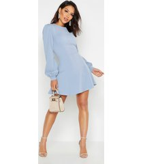 bust detail blouson sleeve skater dress, dusty blue