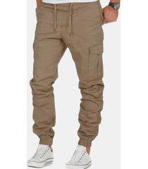 pantaloni casual slim fit da uomo in vita alta con coulisse in vita elastica multicolor