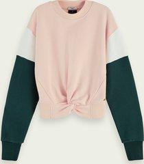 scotch & soda sweater met colourblock en geknoopt detail