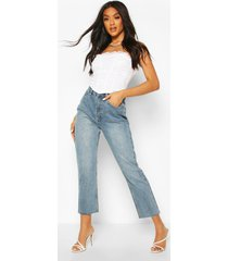 high rise straight leg jeans, light blue