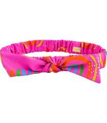 faixa de cabelo ecokids place com elástico e laço arco íris multicolorido
