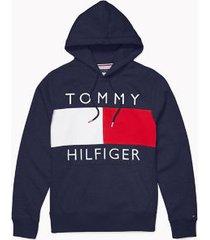 tommy hilfiger men's adaptive logo flag hoodie sky captain - s