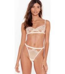 womens unlock the caged bralette and high-leg thong set - champagne