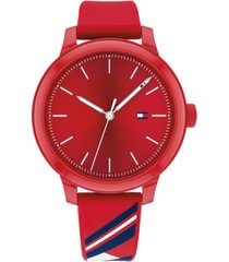tommy hilfiger women's red silicone strap watch 38mm, created for macy's