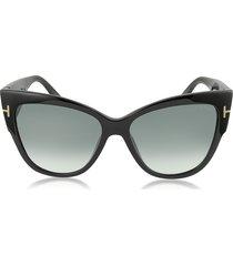 tom ford designer sunglasses, anoushka ft0371 01b black cat eye sunglasses