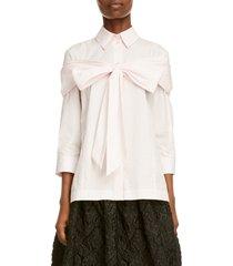 women's simone rocha bow detail poplin button-up shirt