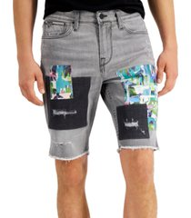 guess men's slim-fit stretch patchwork destroyed denim shorts