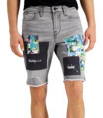 guess men's slim-fit stretch patchwork destroyed denim shorts