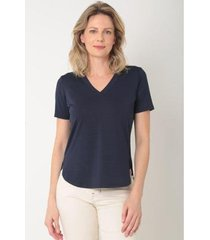 blusa manga curta decote v barra fraldada feminina - feminino