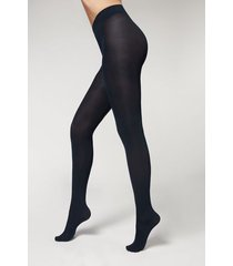 calzedonia 100 denier total comfort soft touch tights woman blue size 4