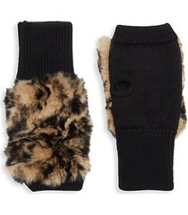 texty time rabbit fur fingerless mittens