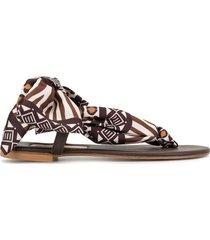 avec modération scarf-tie sandals - brown